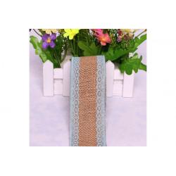 Nastro in lino con pizzo celeste 5cmx2mt