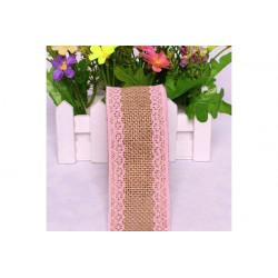 Nastro in lino con pizzo rosa 5cmx2mt