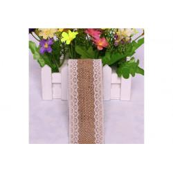 Nastro in lino con pizzo bianco 5cmx2mt