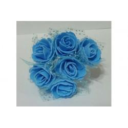 Rosa in spugna con inserti pois cm 2 pz 12 colore celeste