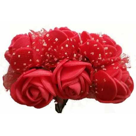 Rosa in spugna con inserti pois cm 2 pz 12 colore rosso