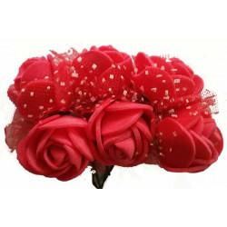 Rosa in spugna con velo a pois cm 3 pz 6 colore rosso