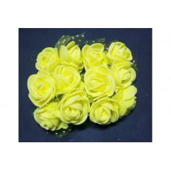 Rosa in spugna con velo a pois cm 3 pz 12 colore Giallo