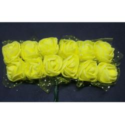 Rosa in spugna con inserti pois cm 2 pz 12 colore Giallo