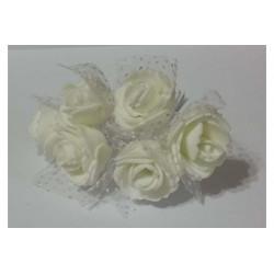 Rosa in spugna con inserti pois cm 2 pz 10 colore bianco