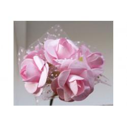 Roselline in carta con velo organza Rosa 6 pz 25mm