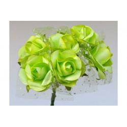 Roselline in carta con velo organza Verde 6 pz 25mm