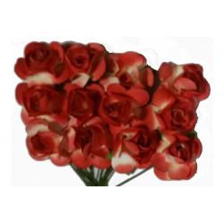 Fiore in carta cm 1 pz 12 colore bianco e rosso