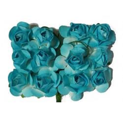 Fiore in carta cm 1 pz 12 colore celeste e bianco