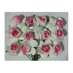 Fiore in carta cm 1 pz 12 colore bianco e rosa