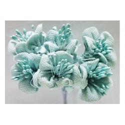 Fiore in stoffa cm 2 pz 6 azzurro