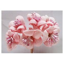 Fiore in stoffa cm 2 pz 6 rosa