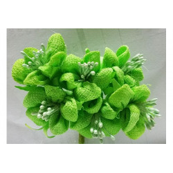 Fiore in stoffa cm 2 pz 6 verde