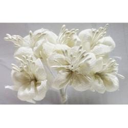 Fiore in stoffa cm 2 pz 6 bianco