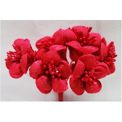 Fiore in stoffa cm 2 pz 6 rosso