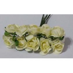 Rosa in carta cm 2 pz 10 colore bianco