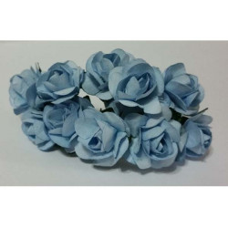 Rosa in carta cm 2 pz 10 colore celeste