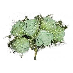Rosa in spugna con velo a pois cm 3 pz 6 colore verde bosco