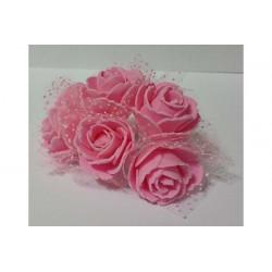 Rosa in spugna con velo a pois cm 3 pz 6 colore rosa