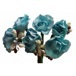 Rosa in carta con particolari cm 2 pz 6 colore celeste