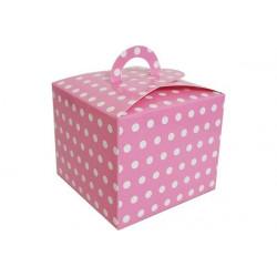 Scatola party per bambini con maniglia rosa pois 6pz