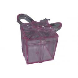 Scatola Regalo Quadrata con fiocco Rosa in plexiglas 4x4cm