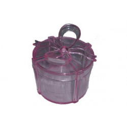 Scatola Regalo Tonda con fiocco Rosa in plexiglas 6cm