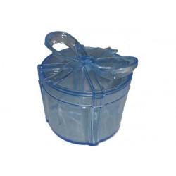 Scatola Regalo Tonda con fiocco Azzurro in plexiglas 6cm