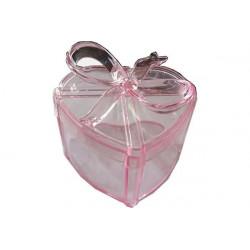 Scatola Regalo Cuore con fiocco Rosa in plexiglas 7cm