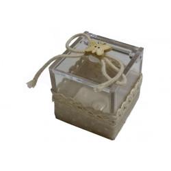 Scatola Cubo portaconfetti decorata in tela Beige 4