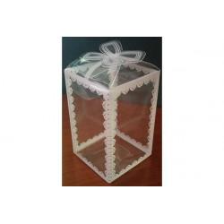 Scatola Quadrata decorata Bianco in PVC 12x12x20cm 12pz