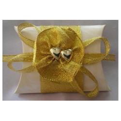 Scatola portaconfetti in cartoncino bustina Oro decoro cuore 9x7cm