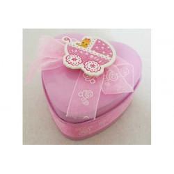 Scatolina portaconfetti cuore rosa 7cm