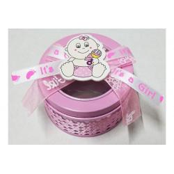 Scatolina portaconfetti rosa con bordo trasparente diametro 6cm