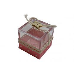 Scatola Cubo portaconfetti decorata in tela Rosa 4