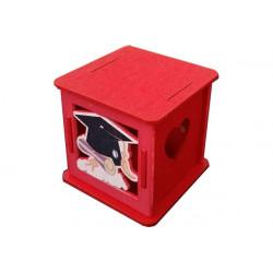 Scatolina portaconfetti in legno per Laurea Rosso
