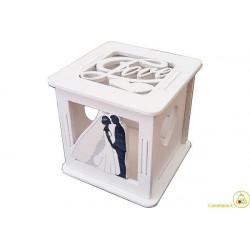 Scatolina portaconfetti in legno Matrimonio Bianco
