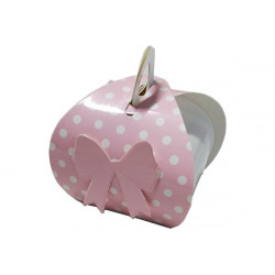 Scatolina in cartoncino rosa con pois e fiocco 7cm