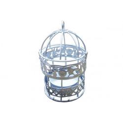 Gabbietta Bomboniera Lanterna Tealight portacandela Bianca