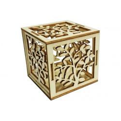 """Scatolina portaconfetti in legno naturale """"Albero della vita"""""""