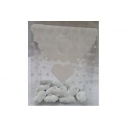 Sacchetto Regalo portaconfetti decorato Cuore Bianco in PVC 14x11x6cm 24pz