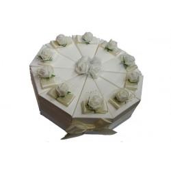 Torta portaconfetti 10pz colore bianco con rose