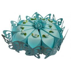 Torta portaconfetti 10pz colore celeste con farfalle