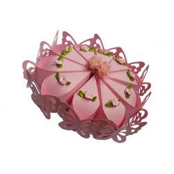 Torta portaconfetti 10pz colore rosa con farfalle