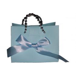 Portaconfetti Bomboniera modello borsetta colore Celeste con fiocco 9x5x7cm