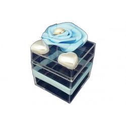 Scatola Cubo portaconfetti con decoro Celeste in plexiglas 5x5x5cm
