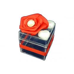Scatola Cubo portaconfetti con decoro Rosso in plexiglas 5x5x5cm