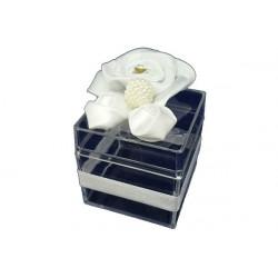 Scatola Cubo Portaconfetti con decoro Bianco in plexiglas 5x5x5cm