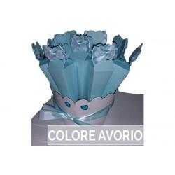 Confezione Kit 10 portaconfetti piramide con fiocco in raso e pizzo con base Avorio