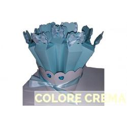 Confezione Kit 10 portaconfetti piramide con fiocco in raso e pizzo con base Crema